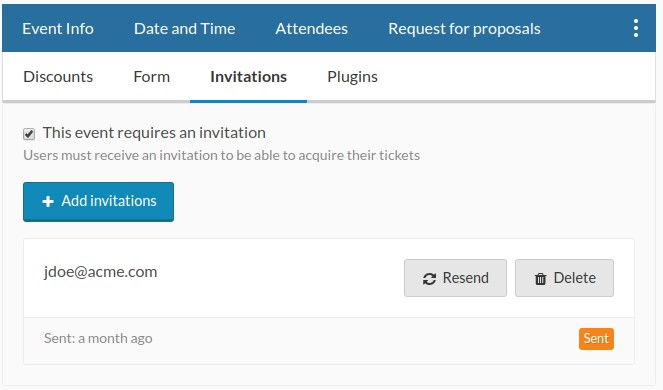 Enabling invitations for an event