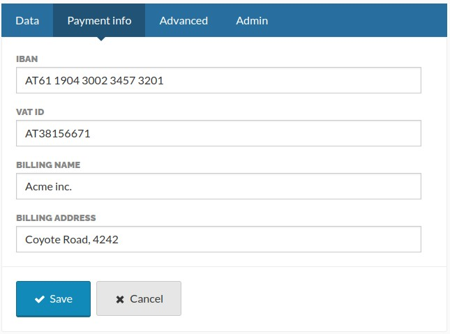 The payment info page