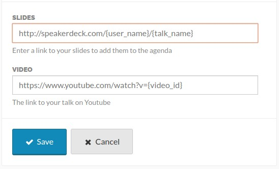 The form fields to specify your slides and youtube URL
